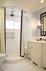 floor to ceiling shower curtains bathroom traditional with white cabinets rain showerhead shower bench