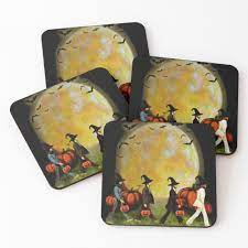 "The Beatles Abbey Road Moon Pumpkins Halloween"" Coasters (Set of 4) by  Kasey-Riggs-796 