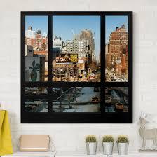Leinwandbild Blick Aus Fenster Auf Straße In New York Quadrat 11