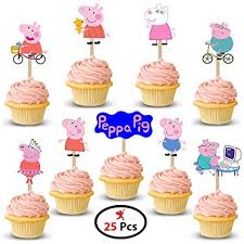 Party Propz Peppa Pig Cup Cake Topper Set Of 25 For Peppa Pig Birthday Decoration