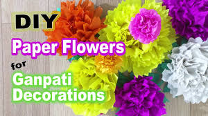 ganpati decoration ideas diy paper flowers youtube