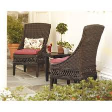 hton bay woodbury wicker outdoor patio dining chair with chili cushion 2 pack