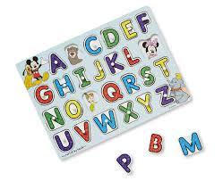 melissa doug disney classics alphabet wooden peg puzzle 26 pcs image 1 zoomed image