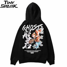 Hip Hop <b>Mens Hoodie Sweatshirt</b> Japanese Ukiyo E Ghost Fish ...
