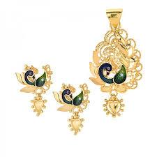 fancy peacock pendant set