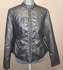 details about baccini women size pxl metallic silver faux leather lined full zip jacket