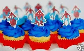 Spiderman Edible Wafer Pre Cut Cupcake Cake Toppers Birthday