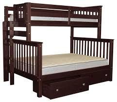 Bedz King Bunk Beds Twin over Full with End Ladder, 2 Bed Drawers ...