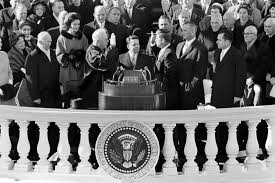 Jfk years in office Full John Fitzgerald Kennedy r Is Sworn In As The 35th Us President By Supreme Court Chief Justice Earl Warren l In Front Of The Capitol In Washington On Facebook John F Kennedy Inaugural Address Remembered The Takeaway Wnyc