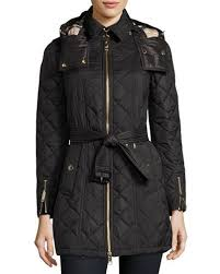 Women's Coats : Puffer Coats & Hooded Raincoats at Neiman Marcus & Baughton Quilted Belted Parka Jacket, Black Adamdwight.com