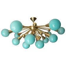 half sputnik turquoise blue murano glass globes chandelier for