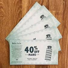 Image result for 40% off mains at bella italia