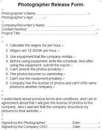 Photographer Release Form. Tapepgiles Babbidge Photography Episode ...