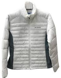 columbia sportswear company white puffer jacket size 12 l patchwork quilted jackets