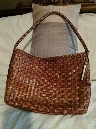 elliott lucca brown woven leather handbag