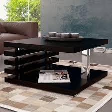 Table basse en bois noir et chromé Kyoto - Dya-Shopping.fr