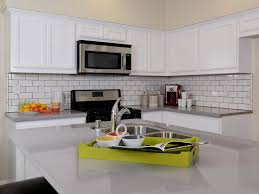 gas stove top cabinet. 63 Creative Endearing White L Shaped Kitchen With Subway Tile Backsplash Including Wooden Cabinets And Black Gas Stove Top Griddle Also Dining Table Sink Cabinet