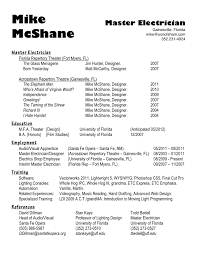 Brilliant Ideas Of Master Electrician Resume Employment Training