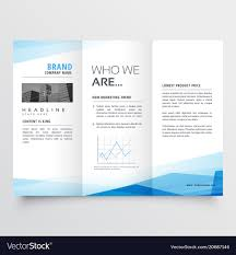 Tri Fold Brochure Layout Minimal Blue Trifold Brochure Layout Background Vector Image