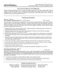Beautiful District Manager Resume Sample For Retail Store Examples