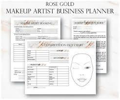 Rose Gold Makeup Artist Business Planner Bundle Freelance
