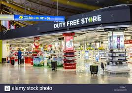 duty free at faro airport portugal stock image