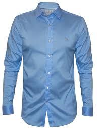 slim fit long sleeved light blue shirt