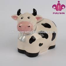 E Cow Shaped Ceramic Animal Piggy Banks With Full Handpainted