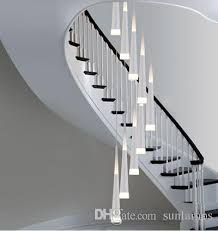 stair lighting. 1.5-3.8M Long Led Stair Lighting Bar Cone Spiral Pendant Lamp Lights For Extra Height Stairwell Library Studio Strip Luminaire Light