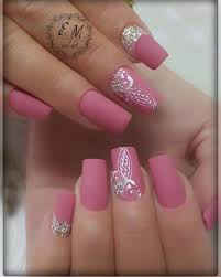 Decorative Nail Art Designs SUCH a pretty matte pink color with decorative nail art Ideas de 8