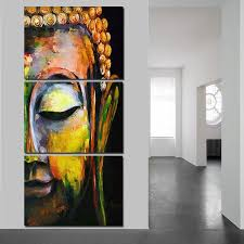 chen 3 pieces canvas painting buddha wall art pictures for living room home decor no frame