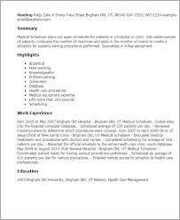 Resume Templates: Medical Scheduler