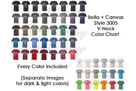 Bella Canvas 3005 Vneck Color Chart Mockup Every Color Jpeg