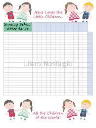 Sunday School Attendance Chart Printable Poster Wall Art