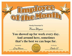 Free Employee Of The Month Certificate Template Simple Employee Of The Month Award From 48 Funny Employee Awards By