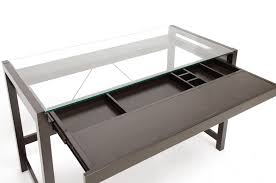 a glass desk or a wooden desk