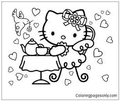 Hello kitty coloring pages are images of the fictional hero who is thought up by the japanese designer yuko shimizu. Pin By Cynthia Alday On Tea Party Hello Kitty Coloring Hello Kitty Colouring Pages Hello Kitty Birthday