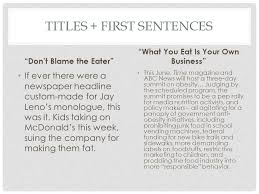 "titles as signals titles first sentences ""don t blame the eater  titles first sentences don t blame the eater if ever there were a newspaper"