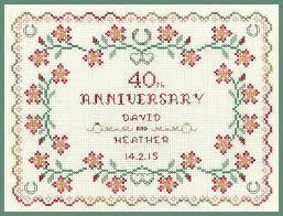 Wedding Anniversary Color Chart Ruby Wedding Anniversary Sampler Cross Stitch Kit On 14