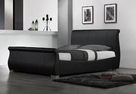 black upholstered sleigh bed. Benson Upholstered Sleigh Bed Black