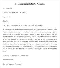 Promotion Recommendation Letter Sample