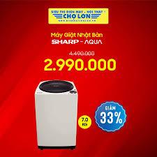 Siêu Thị Điện Máy - Nội Thất Chợ Lớn - Máy giặt Nhật Sharp - Aqua 7.0 Kg  giảm 33% - Giá còn: 2.990.000 (̶4̶̶.̶̶4̶̶9̶̶0̶̶.̶̶0̶̶0̶̶0̶) => Chi tiết SP:  https://dienmaycholon.vn/may-giat/may-giat-sharp-72-kg-esu72gvh