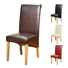leather restaurant chairs. 4 Faux Leather PU Dining Chairs Scroll Back Oak Leg Furniture Kitchen Restaurant L