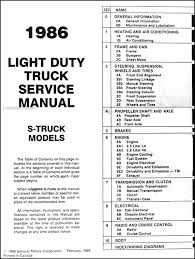 chevy truck wiring diagram manual chevy image 1986 chevrolet s 10 pickup blazer repair shop manual original on chevy truck wiring diagram manual