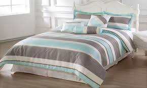 ralph lau blue grey striped comforter for flagrant