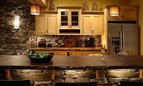 Basement Kitchen Designs Cool Mullet Cabinet Basement Wet Bar Featuring Concrete Tops And Stone