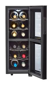Cabinet With Wine Cooler Amazoncom Haier 18 Bottle Dual Zone Curved Door With Smoked