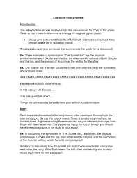 Literature Essay Format Introduction Introduction