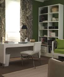 interior design for home office. green and white room with desk in front of window interior design for home office
