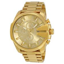 diesel mega chief chronograph champagne dial men s watch dz4360